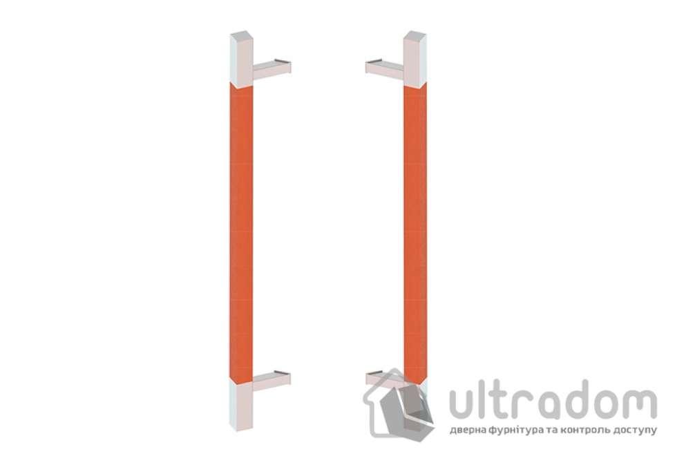 Дверная ручка-скоба Wala Q45D 40х40 мм нерж. сталь с деревянной вставкой двухсторонняя