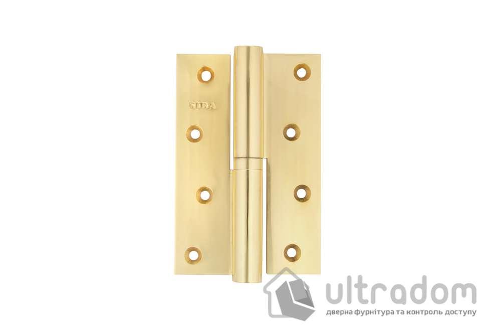 Петля дверная латунная SIBA 120 мм, усиленная, с регулировкой, цвет - полированная латунь