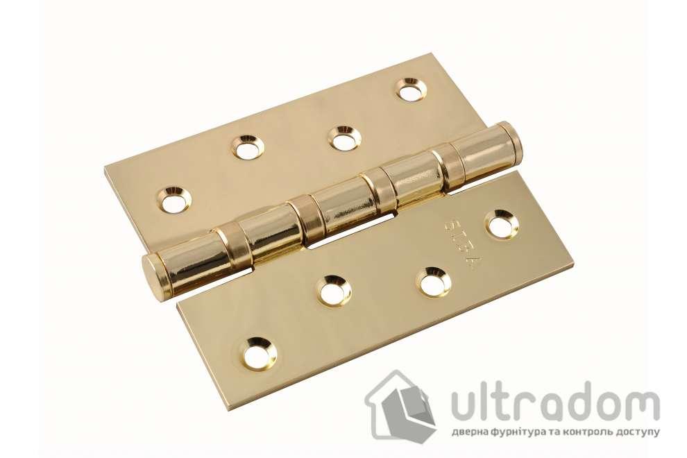 Петли дверные универсальные SIBA 100 мм, цвет - полированная латунь