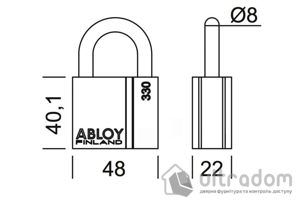 Навесной  замок ABLOY PL330 H-25 мм Classic\Novel\Protec