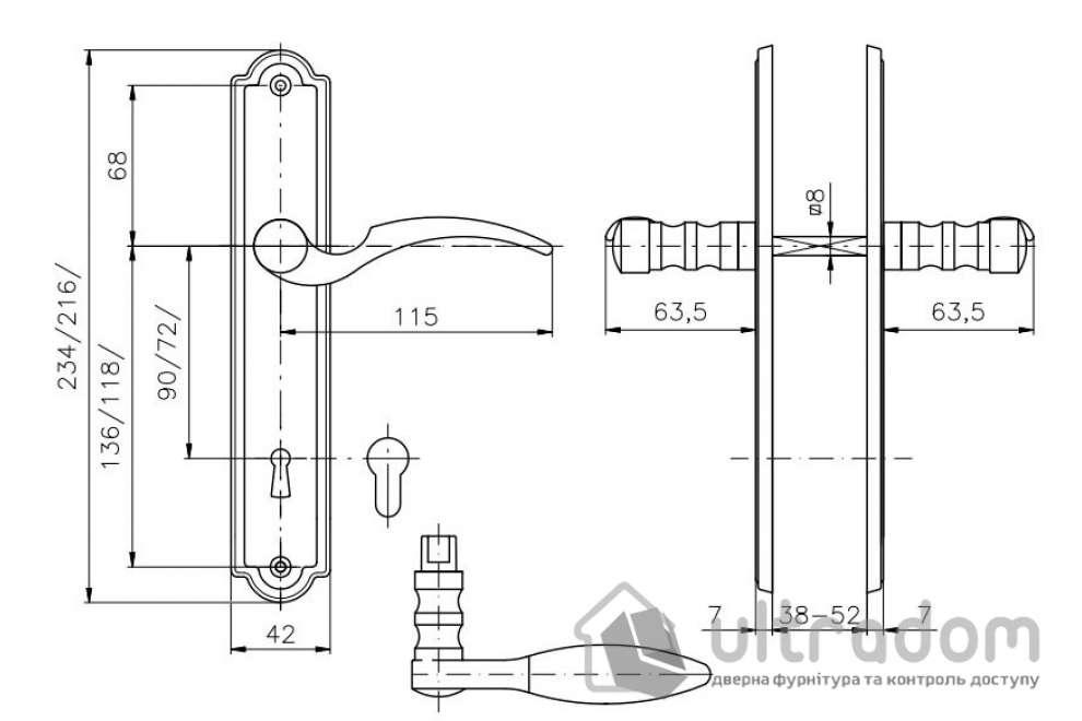Дверная ручка ROSTEX ADRIA  PZ ручка-ручка 85 мм хром полированный