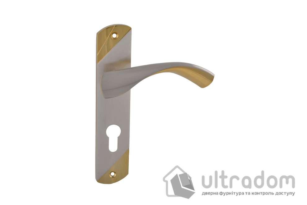 Дверная ручка на планке под ключ (85-62 мм) SIBA Siena мат.никель-альбифрин