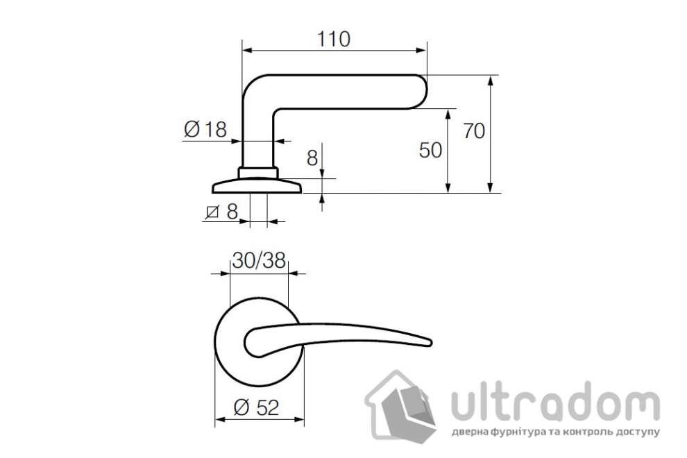 Дверная ручка   ABLOY АКАТЕМІА 133/002 матовый хром