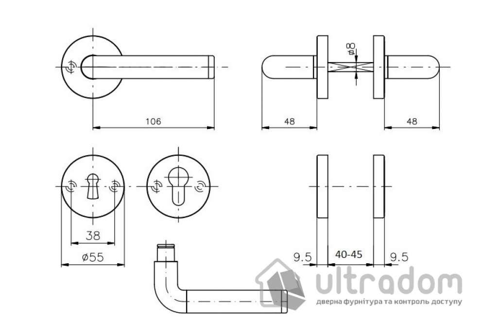 Дверная ручка ROSTEX REAL SNH55 mov-mov PZ хром матовый