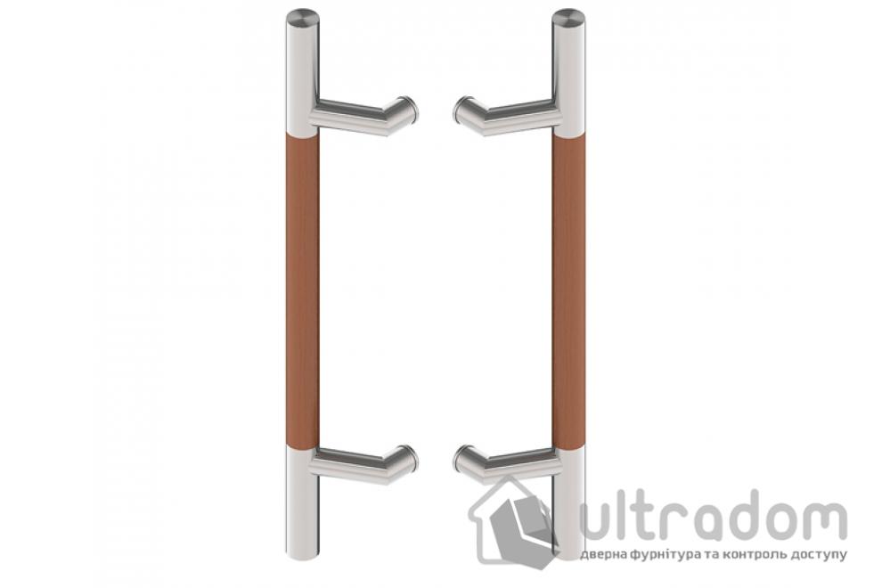 Дверная ручка-скоба Wala P44D Ø30 мм нерж. сталь с деревянной вставкой двухсторонняя