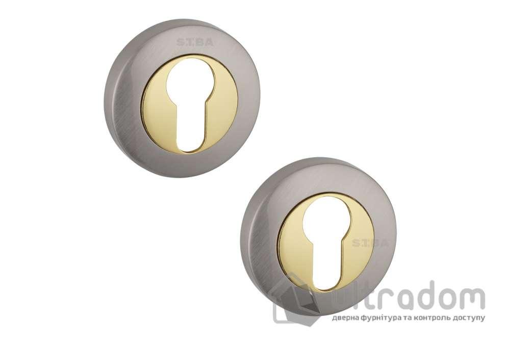 Накладки под цилиндр PZ SIBA R01 матовый никель / тёмное золото