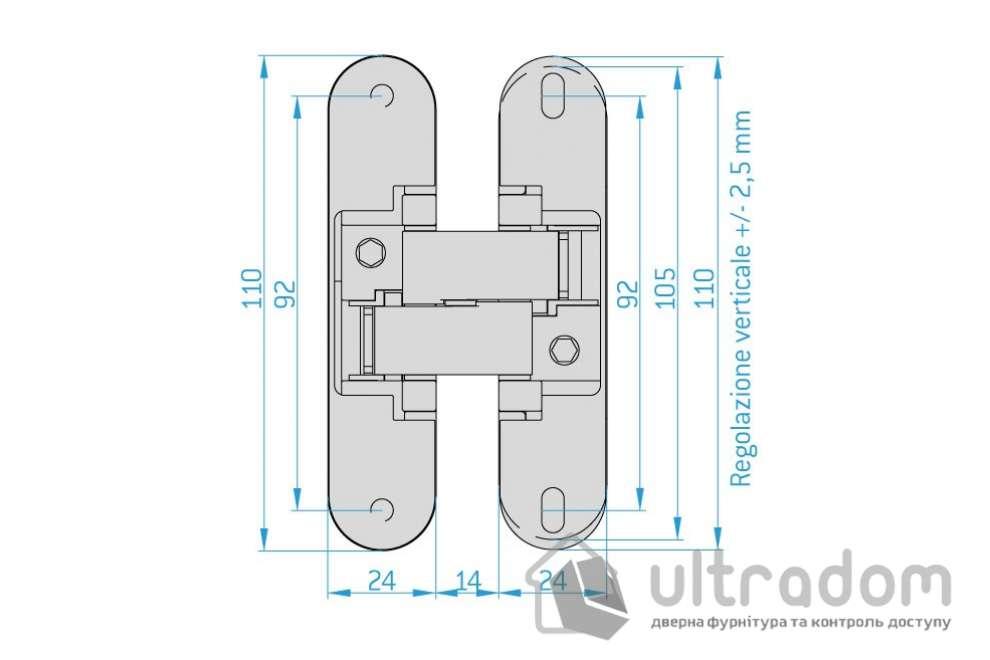 Петля скрытая Anselmi Istar 580 3D, 80кг/пара петель (AN 180 3D 14)