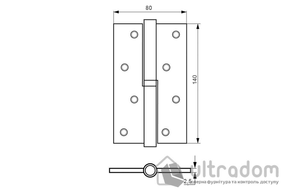Петля дверная латунная DOGANLAR Eko 140 мм правая (d14R)