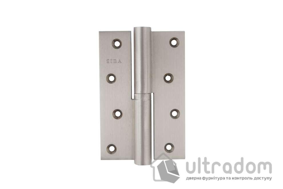 Петля дверная латунная SIBA 120 мм, усиленная, с регулировкой, цвет - матовый никель.
