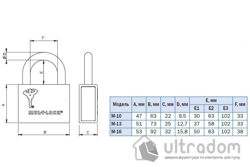 Навесной  замок  Mul-T-Lock M10-13-16 /C3 H-102мм Classic