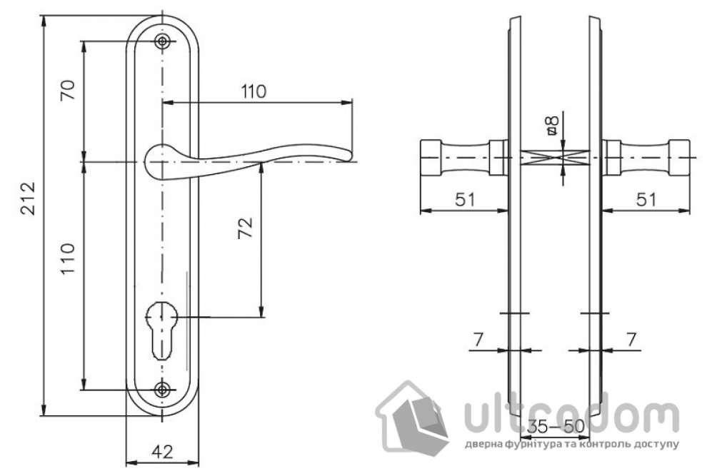 Дверная ручка ROSTEX ELEGANT  PZ ручка-ручка 72 мм латунь матовая