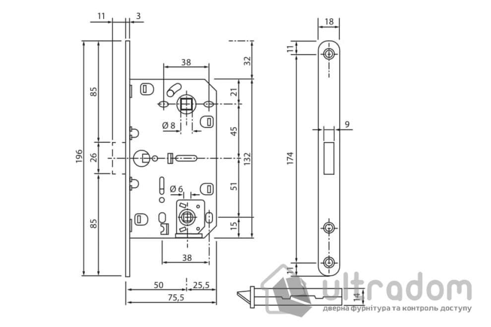 Врезной магнитный замок WC SIBA MLK-04 SN, цвет - матовый никель