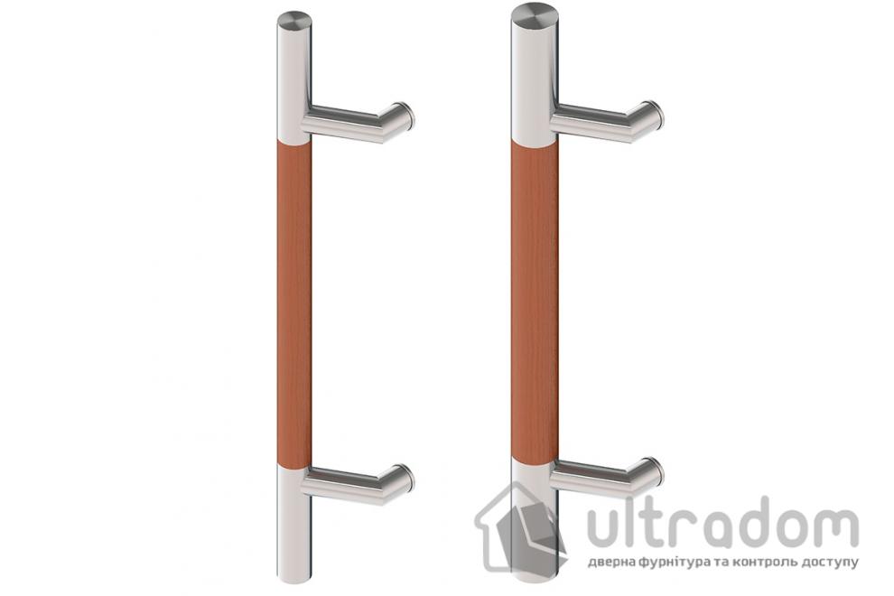 Дверная ручка-скоба Wala P44D Ø30 мм нерж. сталь с деревянной вставкой односторонняя