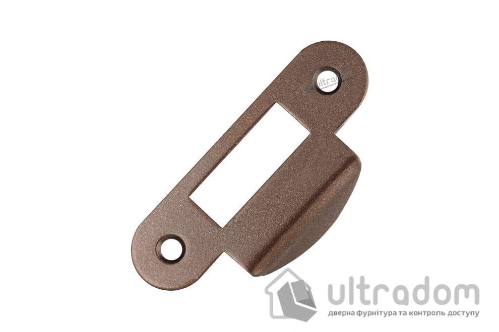 Ответная планка для замка AGB с загнутым отбойником, цвет - коричневая бронза