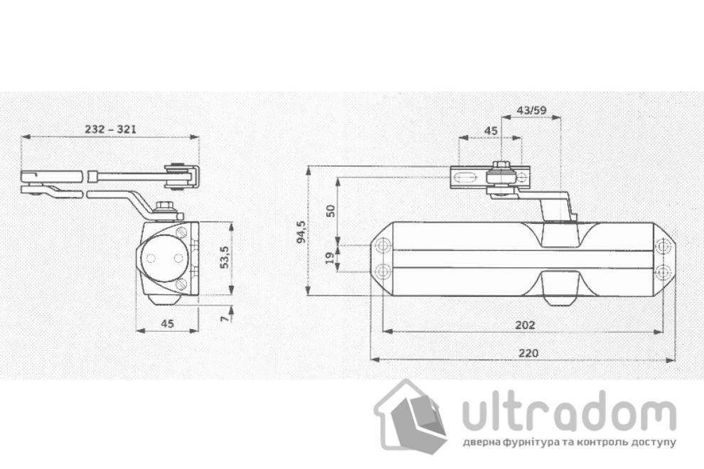 Дверной доводчик DORMA TS68 EN2-4 , серый (66400101)