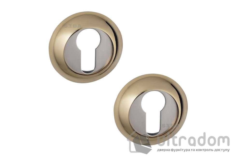 Накладки под цилиндр PZ SIBA R02 матовый никель / золото 22 90