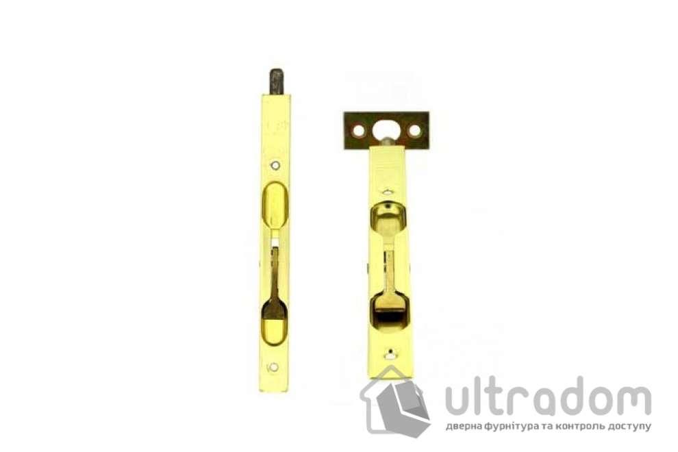 Дверной торцевой шпингалет AGB 160 мм, перекидной, цвет - латунь