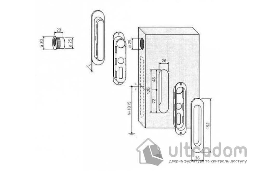 Ручки - ракушки для раздвижных дверей AGB, 2 шт, цвет - мат.хром