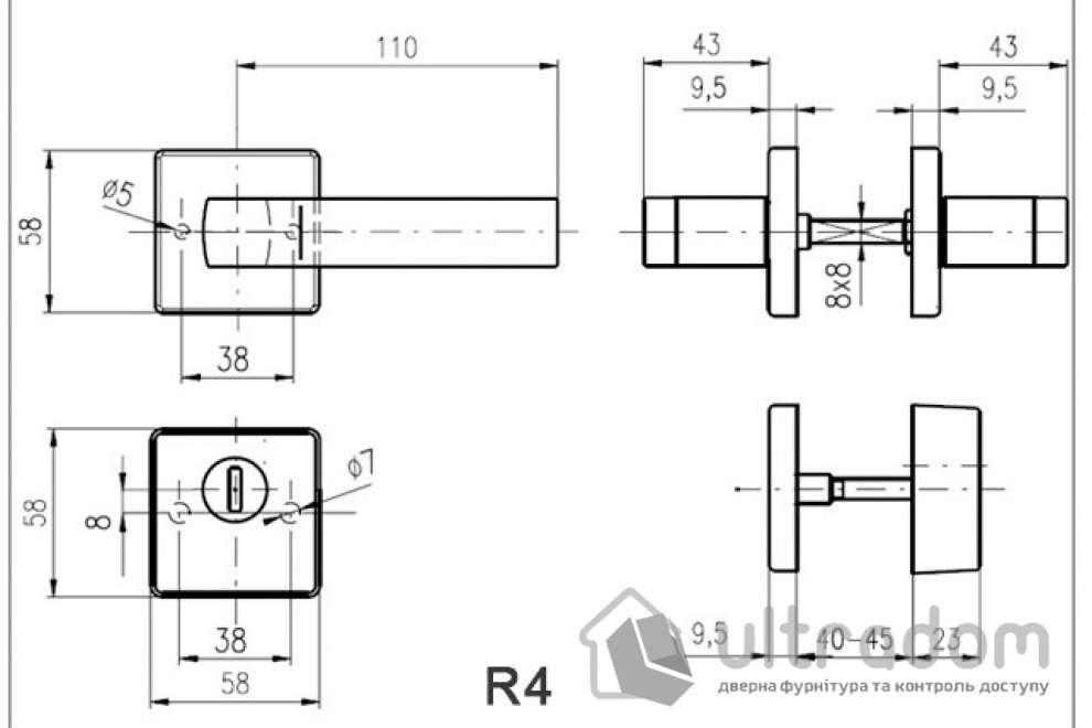 Дверная ручка ROSTEX QUADRUM H58 нержавеющая сталь