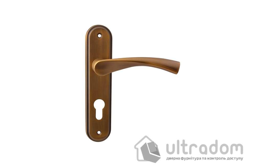 Дверная ручка на планке под ключ (85-62 мм) SIBA Genoa, матовое кофе