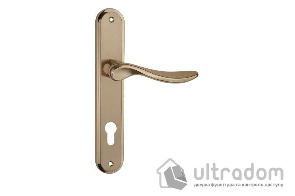 Дверная ручка на планке под ключ (85 мм) SIBA Latina мат.золото-золото