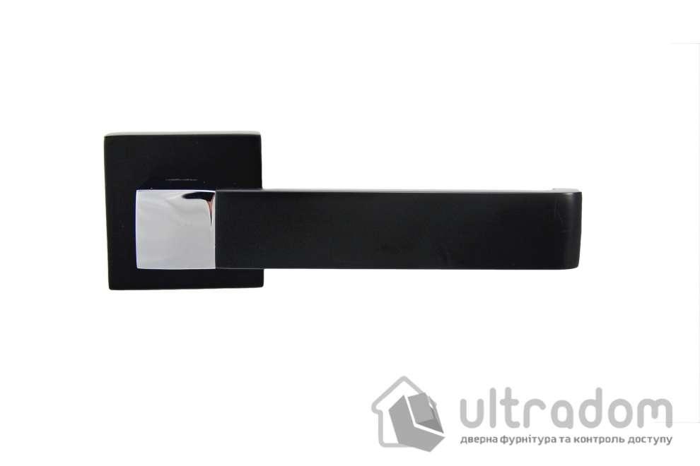 Ручка дверная на бесшовной розетке SIBA RONDO, чёрная - никель блестящий
