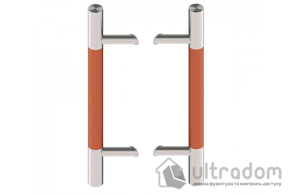 Дверная ручка-скоба Wala P45D нерж. сталь с деревянной вставкой Ø40 мм двухсторонняя