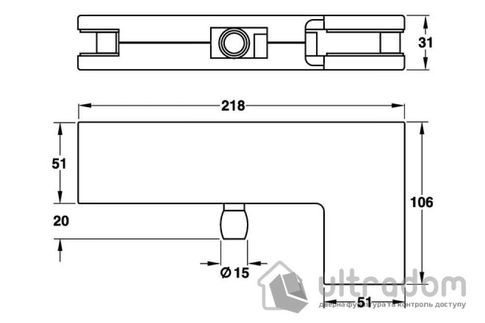 Ответная часть угловая к петле верхней HAFELE , нержавеющая сталь 218 x 106 x 51