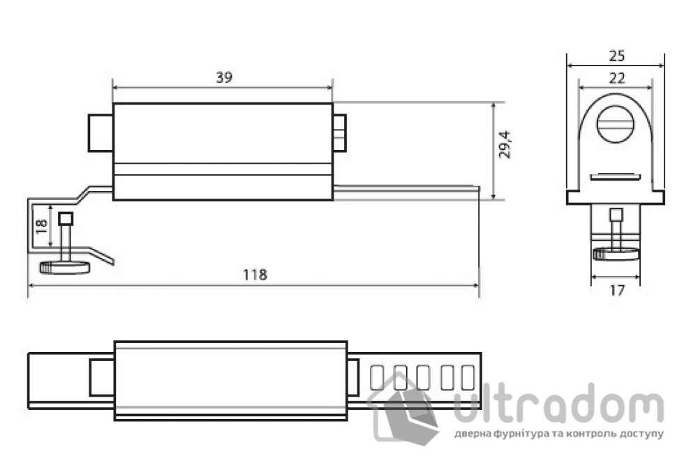 Замок повышенной надежности для цельностеклянных витрин, которые раздвигаются, MUL-T-LOCK Show Case Lock.