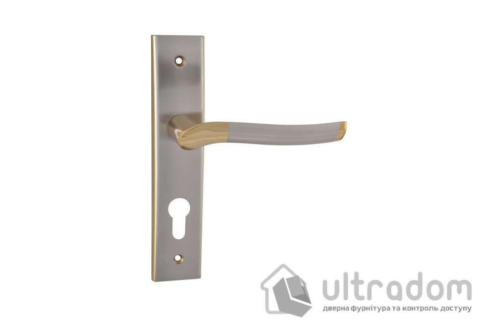 Дверная ручка на планке под ключ (85-62 мм) SIBA Verona мат.никель-альбифрин