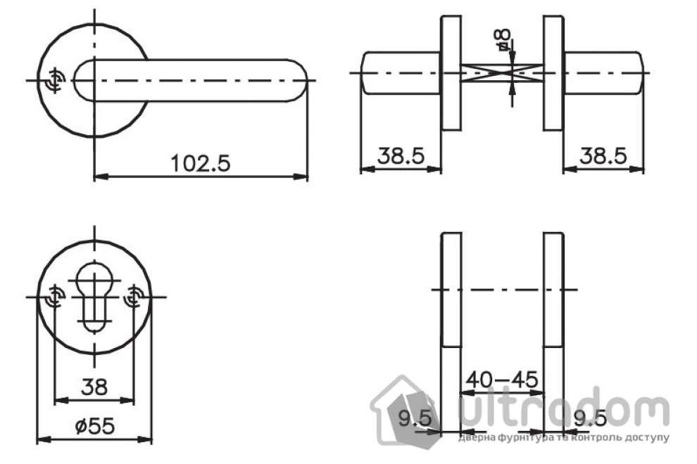 Дверная ручка ROSTEX EXСLUSIVE S52 mov-mov  с накладкой PZ хром сатин