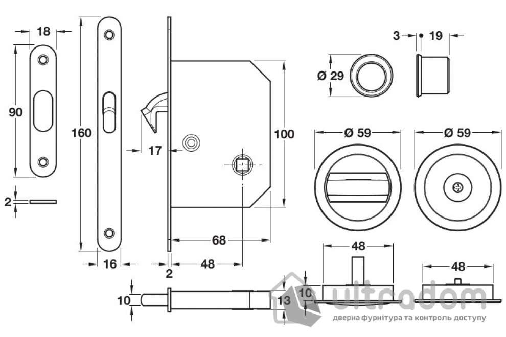 Ручка-ракушка с механизмом WC для раздвижных дверей Hafele никель матовый