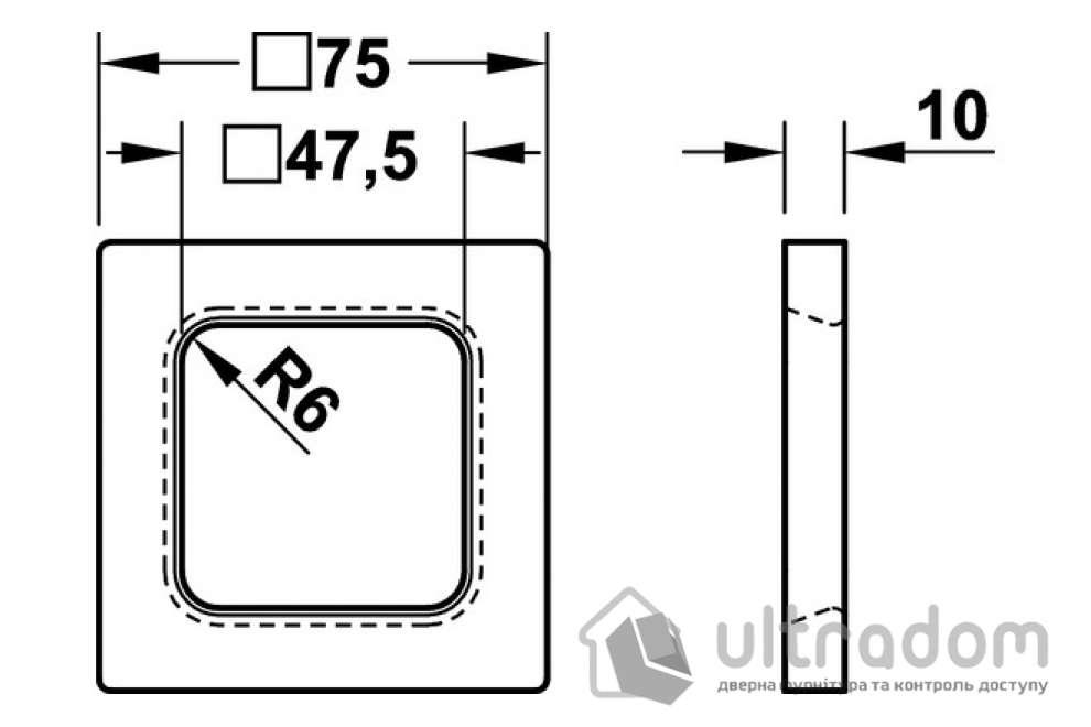 Ручка-ракушка для стеклянных дверей HAFELE, накладная квадратная 75х75х10 мм