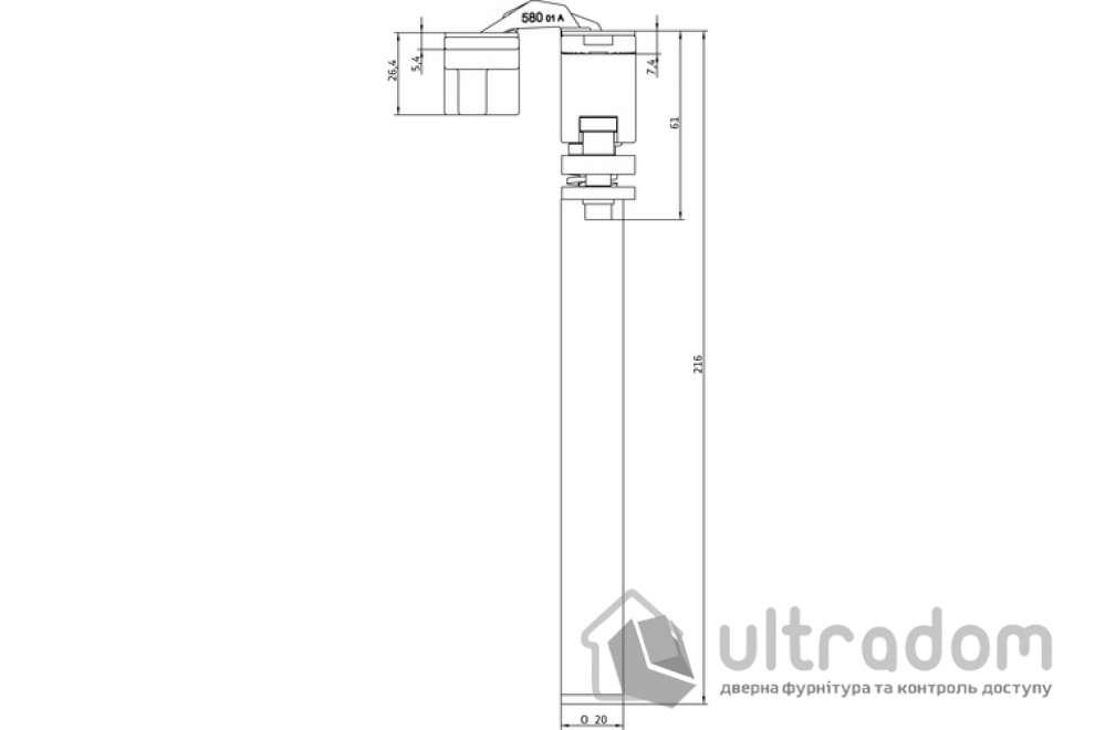 Петля - доводчик Anselmi AN 108 3D SC45 дверь до 45 кг, с дожимом
