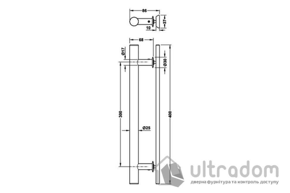 Ручка-скоба для раздвижных дверей HAFELE труба круглая  400 мм