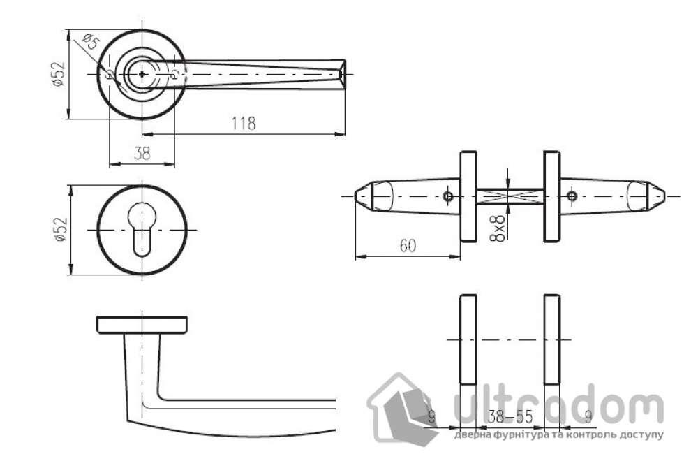 Дверная ручка ROSTEX PARMA ES52 нержавеющая сталь