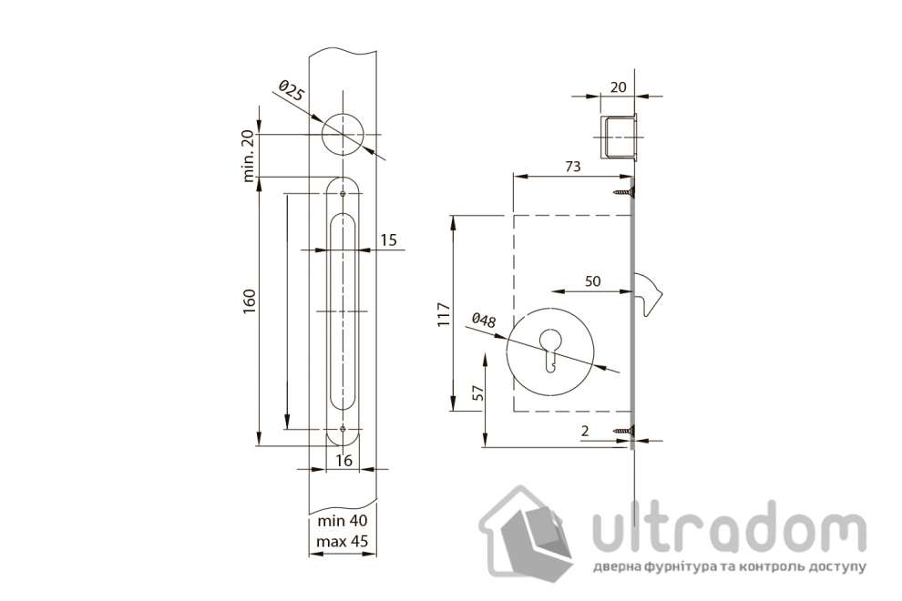 Дверные ручки-ракушки прямоугольные Valcomp с механизмом WC,  никель (372-307)