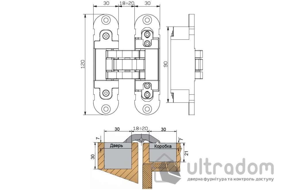 Скрытая дверная петля OTLAV Invisacta 3D 30х120 мм коричневая бронза