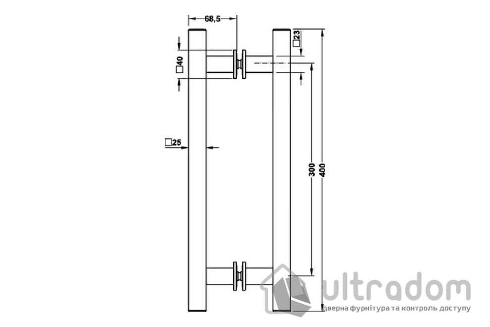 Ручка-скоба HAFELE труба квадратная 400 мм