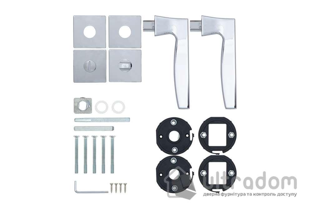 Дверная ручка ROSTEX KIRA H56 mov-mov WC хром полированный