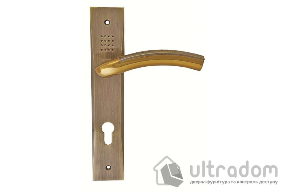 Дверная ручка на планке под ключ (85-62 мм) SIBA Bari альбифрин -бронза