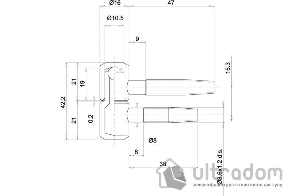 Петля ввертная OTLAV 030 Ø16 мм 2-ух штыревая