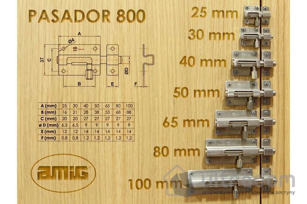 Накладной шпингалет из нержавеющей стали AMIG m.800