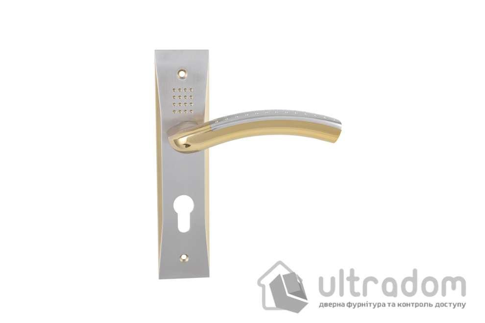 Дверная ручка на планке под ключ (85-62 мм) SIBA Bari мат.никель-золото