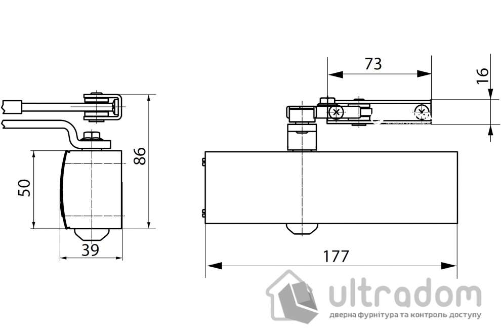 Дверной доводчик GEZE TS 1500, серебристый (TS1500_silver)