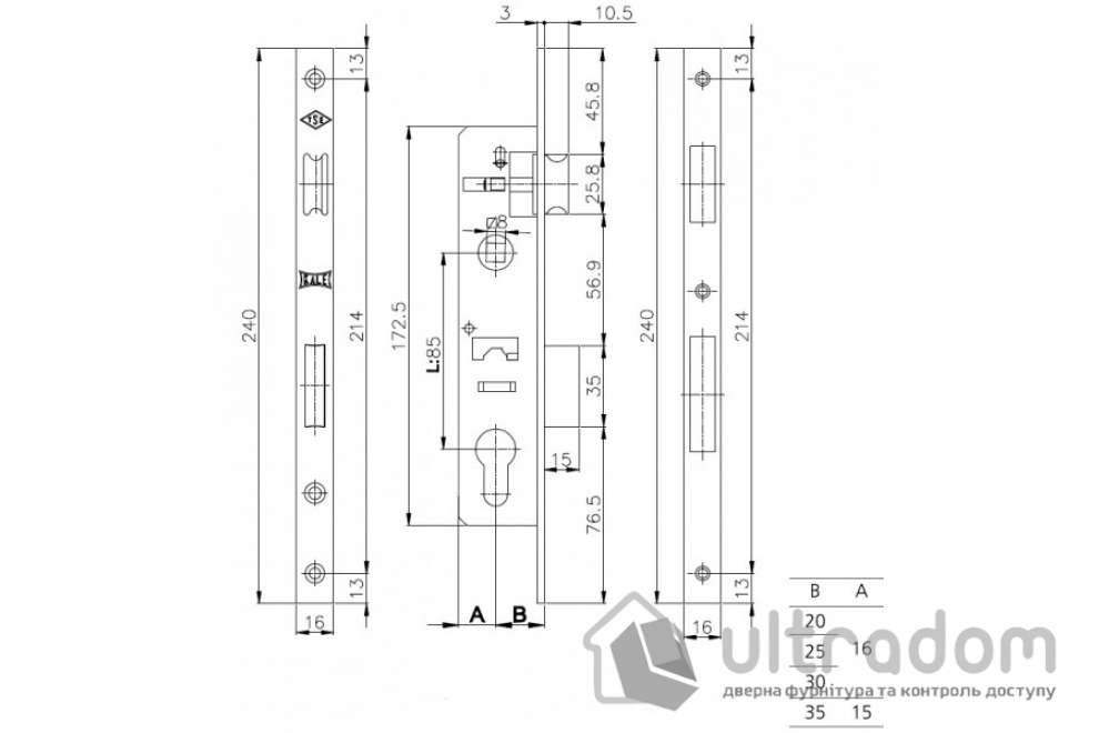 Замок с защелкой SIBA 10053P-25 для металлопластиковой двери