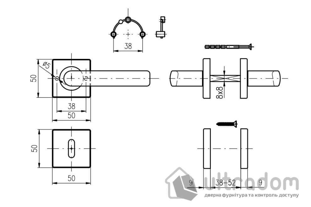 Дверная ручка ROSTEX RAVENA H53 mov-mov с накладкой PZ нержавеющая сталь