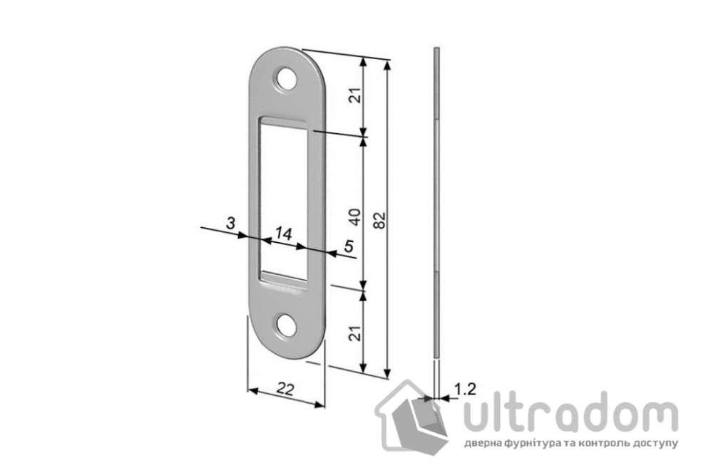 Ответная планка для магнитных замков AGB Easy-FiX, цвет - полированная латунь