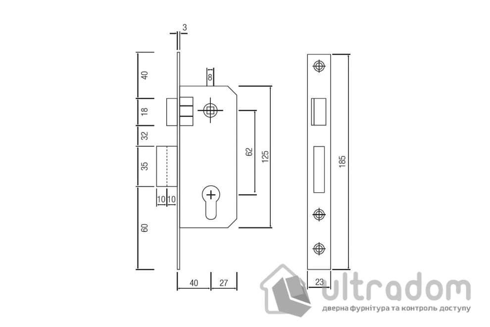 Корпус замка основного SIBA 10037/D - 62/40 мм, цвет - хром