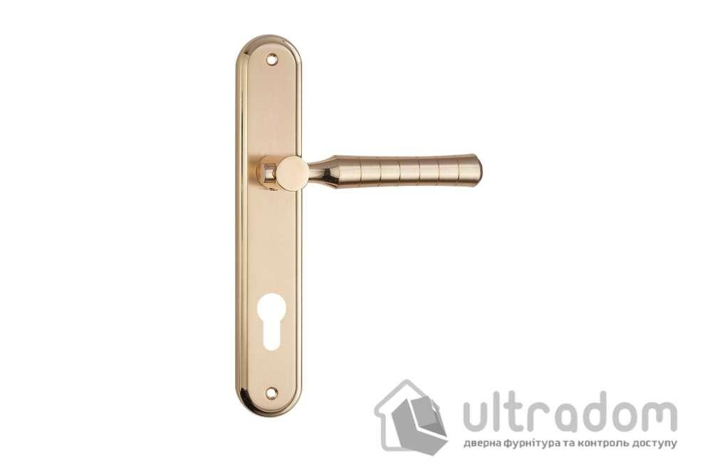 Дверная ручка на планке под ключ (85 мм) SIBA Pisa мат.золото-золото
